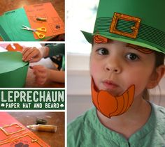 Printable Leprechaun Hat and Beard.  How Funny!  I wonder if I have any green and orange card stock sitting around...