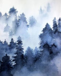 Original Nature Painting by Elena Lebsack Watercolor Paintings Nature, Watercolor Painting Techniques, Watercolor Projects, Knife Painting, Watercolour, Cave Painting, Tree Paintings, Pastel Paintings, Watercolor Trees