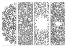 4 BookmarksPrintable Intricate Mandala Coloring por KrishTheBrand
