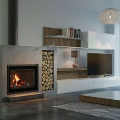 Stunning Fireplace Tile Ideas for your Home - Wood Burning Fireplace Inserts House Design, Living Room With Fireplace, Fireplace Mantels, Trendy Living Rooms, Modern Fireplace, Wood Fireplace, House In The Woods, Home Fireplace, Wood Burning Fireplace Inserts
