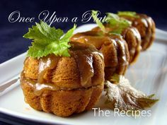 Mini bundt pans with old favorite quick-bread recipe, using canned pumpkin and spices for these, then ice with an old fashioned Brown Sugar Icing.  From Once Upon a Plate by Mari