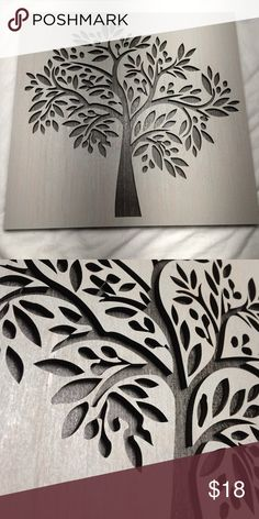 "SALE!: WOOD TREE ART!!! 9.5"" x 10.5"" Beautiful white wood stain on steel accent Other"