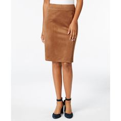 Tommy Hilfiger Faux-Suede Pencil Skirt ($89) ❤ liked on Polyvore featuring skirts, cognac, white knee length skirt, tommy hilfiger, faux suede skirt, knee length pencil skirt and tommy hilfiger skirts