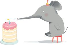Stock Illustration : An elephant blowing candles on a birthday cake by using his trunk