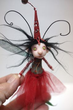 ooak poseable little red skirt BUG fairy  ( 78 ) pixie elf polymer clay art doll by DinkyDarlings by DinkyDarlings on Etsy