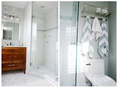 Bath: Marble hexagon flooring, subway tile in shower with marble detail
