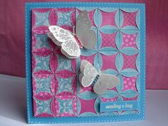 handmade quilt card ...  Patchwork and Butterflies ... folded edge circles ... luv the butterflies on top ...