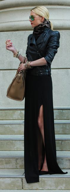 All black. Black maxi dress and black leather jacket. Wild AND classy at the same time !!!