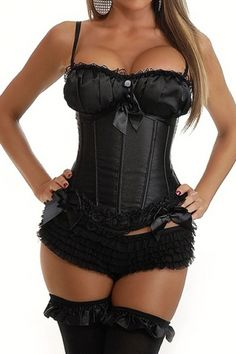 Very alluring fitted black satin corset with gorgeous detail ruffled cups, button and satin ribbon trim. Shirt trimmed with ruffled lace. Pants or stockings not supplied with item Sexy Corset, Black Corset, Black Satin, Pretty Black, Night Out, Feminine, Lace Pants, Corsets, Cups