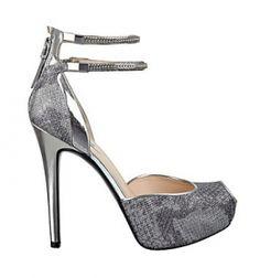 silver gunmetal double ankle strap peep toe high heel platform shoe