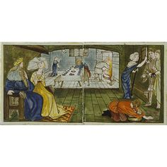 Tile panel in the V and A Museum. Artist/Maker:  Burne-Jones, Edward Coley (Sir), born 1833 - died 1898 (designer) Faulkner, Lucy, born 1839 - died 1910 (possibly, painter (artist)) Morris, Marshall, Faulkner & Co. (maker)