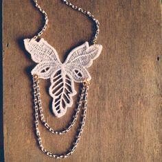 Lace Necklace Leaf Charm, White 16k Gold Plated brass Chains, Fringe,... ($24) ❤ liked on Polyvore featuring jewelry and necklaces
