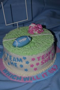 Pink & Blue football themed baby gender reveal