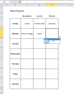 Easy Meal Plan in Excel  Check out this easy template and it is free.