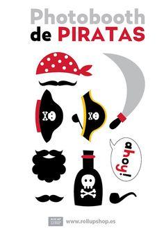 Descarga nuestro atrezzo imprimible gratis desde nuestra página. Hay muchos más… Pirate Day, Pirate Birthday, Pirate Theme, Boy Birthday, Pirate Photo Booth, Diy Photo Booth, Pirate Activities, 1st Birthday Parties, Party Time
