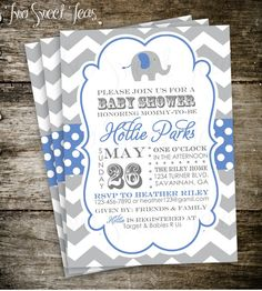 Elephant Baby Shower Invitation Chevron Gray Pink Blue Yellow Mint Circus Modern Digital Printable DIY      I am happy to make minor color changes at