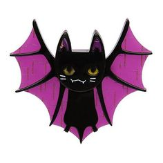 Erstwilder Bat Cat Brooch on Velvet Rose's Pin Up Dressing Room - The vintage shop tailored to you Tailor Shop, Halloween Goodies, Pin Up Dresses, Pin And Patches, Rock Crafts, Animal Jewelry, Vintage Halloween, Vintage Brooches, Cool Cats