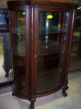 Mahogany China Cabinet, Curved Glass, Chippendale Federal Style with Columns, Mirror, Paw Feet