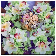 bridal party flowers beach wedding by Princess Wedding Co