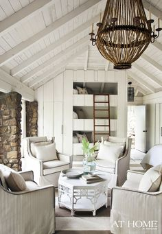 nice comfy furniture, white, stone work, built ins