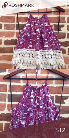 Backless tank top Gorgeous halter top features crochet trim. Perfect for days you really don't want to wear clothes, but still have to. Tops Tank Tops