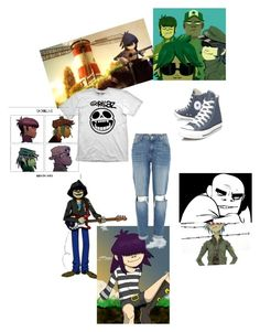 """""""Gorillaz"""" by macwashere ❤ liked on Polyvore featuring INC International Concepts, INDIE HAIR, River Island and Converse"""