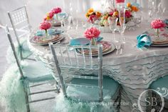 table-setting, place-setting, color-scheme, turquoise, pink, yellow, ruffles, feathers