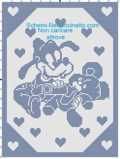 Goofy baby with teddy bear and baby bottle filet crochet pattern baby blanket Source by schoeter Crochet Flower Hat, Crochet Baby Booties, Cross Stitch Baby, Cross Stitch Patterns, Baby Patterns, Crochet Patterns, Bunny Blanket, Bear Blanket, Crochet Baby Blanket Free Pattern