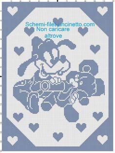 Baby Pippo con orsetto e biberon schema copertina filet uncinetto