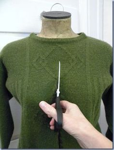 Upcycle a felted sweater. Instructions show how to prepare the sweater and cut to a flattering style. You can also turn the sweater into a bag, gloves, or any one of a variety of upcycled items! felted wool cardi tutorial - OP: DH has some old sweaters he Sweater Refashion, Clothes Refashion, Old Sweater Diy, Refashioning Clothes, Thrift Store Refashion, Refashion Dress, Thrift Store Crafts, Thrift Stores, Sewing Hacks