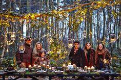 Christian, Carolyn, Angel, Alto, Midori, Galatea Van Outersterp, winter woodland feast, outside entertaining, posh camping / glamping, rustic. www.northstarclub.co.uk www.jollydaysglamping.co.uk