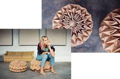"""Wenn man Jule Waibel nach ihrem Beruf fragt, sagt sie nur: """"Ich falte"""". Ein ziemliches Understatement: Denn die Künstlerin faltet seit einigen Jahren sehr erfolgreich aus verschiedensten Materialien ihre ganz eigene Design-Welt – von Teppichen und Couches bis zu Kleidern und Regenschirmen. Wir haben Jule Waibel interviewt während sie, natürlich, gerade gefaltet hat. Mehr auf unserem #jungbleiben Magazin Angst, Couches, Portrait, Frame, Design, Home Decor, Random Stuff, World, Picture Frame"""