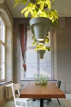 Awesome idea! Bucketlights: Pendant Lamp That Lights, Grows & Cleans The Air by Roderick Vos