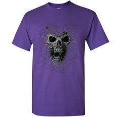Black Widow Skull Men's T-shirt Spider Web Shirts Day of The Dead Halloween Costume Men's Tees by Amazingitems4u on Etsy