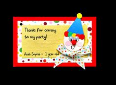 Clown birthday party invitation and favor tag by URinvitedus, $5.50..or food tag