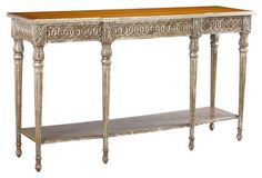 """Table console new distressed silver 61x18x35 sold $2499ea  ...  Avallon 62"""" Console, Weathered Silver"""