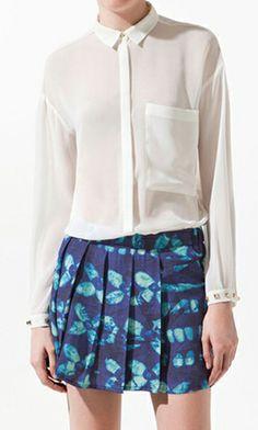 Big pocket rivets long sleeve shirt White