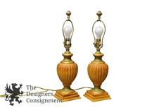 2 Stunning Arts + Crafts Pine Trophy Lamps W/ Brown and Green Shades Designer | The Designers Consignment