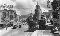 Western junction of Hennessy & Johnston Roads Kennedy Town, Vertical City, British Hong Kong, Old Shanghai, China Hong Kong, Historical Pictures, Vintage Photographs, Old Photos, Westerns
