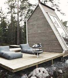 = mini cabin and outdoor deck
