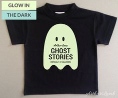 ghost Halloween Tshirt 2016 for boy First Halloween Costumes, Halloween Ghosts, Halloween Outfits, Personalized Baby Gifts, Ghost Stories, The Darkest, Shirt Designs, Glow, T Shirts For Women