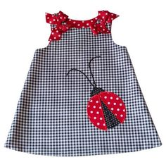 Lady Bug Check Dress No longer on website so it inspires me to sew one. reminds me of a Martha Pullen A-line dress reversible The Shoulder Bows are pinned on removable for washing. Little Dresses, Little Girl Dresses, Girls Dresses, Toddler Dress, Baby Dress, Baby Girl Fashion, Kids Fashion, Fashion Women, Baby Sewing
