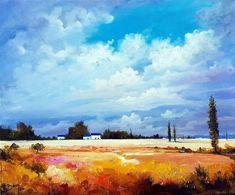 Nuages dans l'après-midi ©Bruni Eric Les Oeuvres, Gallery, Painting, Art, Clouds, Figurative, Toile, Art Background, Roof Rack