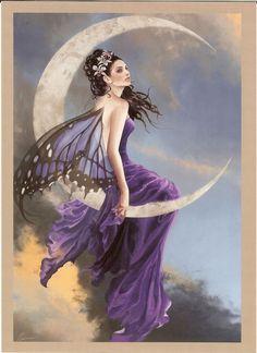 $3 - Nene Thomas Greeting Card Amethyst Moon Fairy Print #ebay #Collectibles