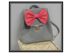 Pink Tzina (Backpack & Messenger Bag) Size:40x43 Light Grey Faux Leather/Pink Faux Leather Bow.