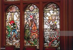 St. George's Hall In Windsor Castle After Restoration Following The Fire. The Design For This New Stained Glass Window Was The Inspiration Of Prince Philip