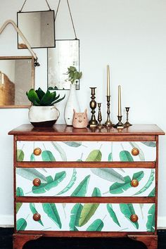 dresser with removable wallpaper