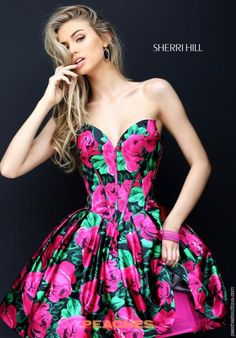 Sherri Hill Short Print A Line Dress 50579