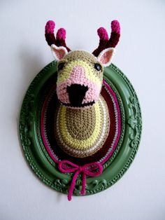 Another Crochet deer head (Big) in a green frame. ₪580.00, via Etsy.