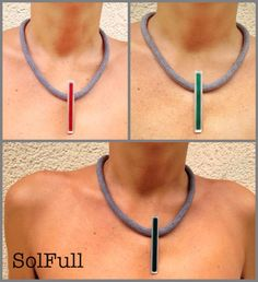 Long stem enamel necklaces on thick silk cord